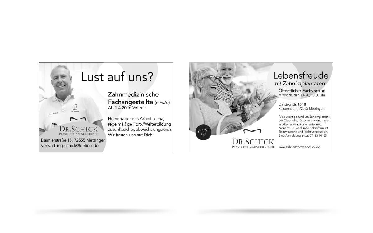 Marketing Strategie und Konzept für Zahnarztpraxis Dr. Schick, Metzingen