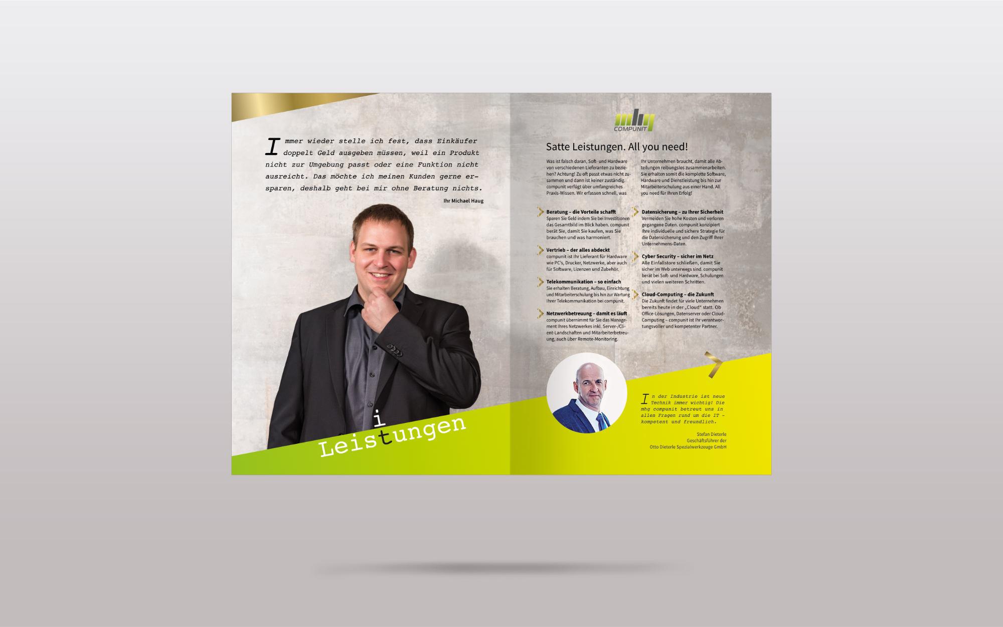 Portfolio Print mhg compunit Broschüre