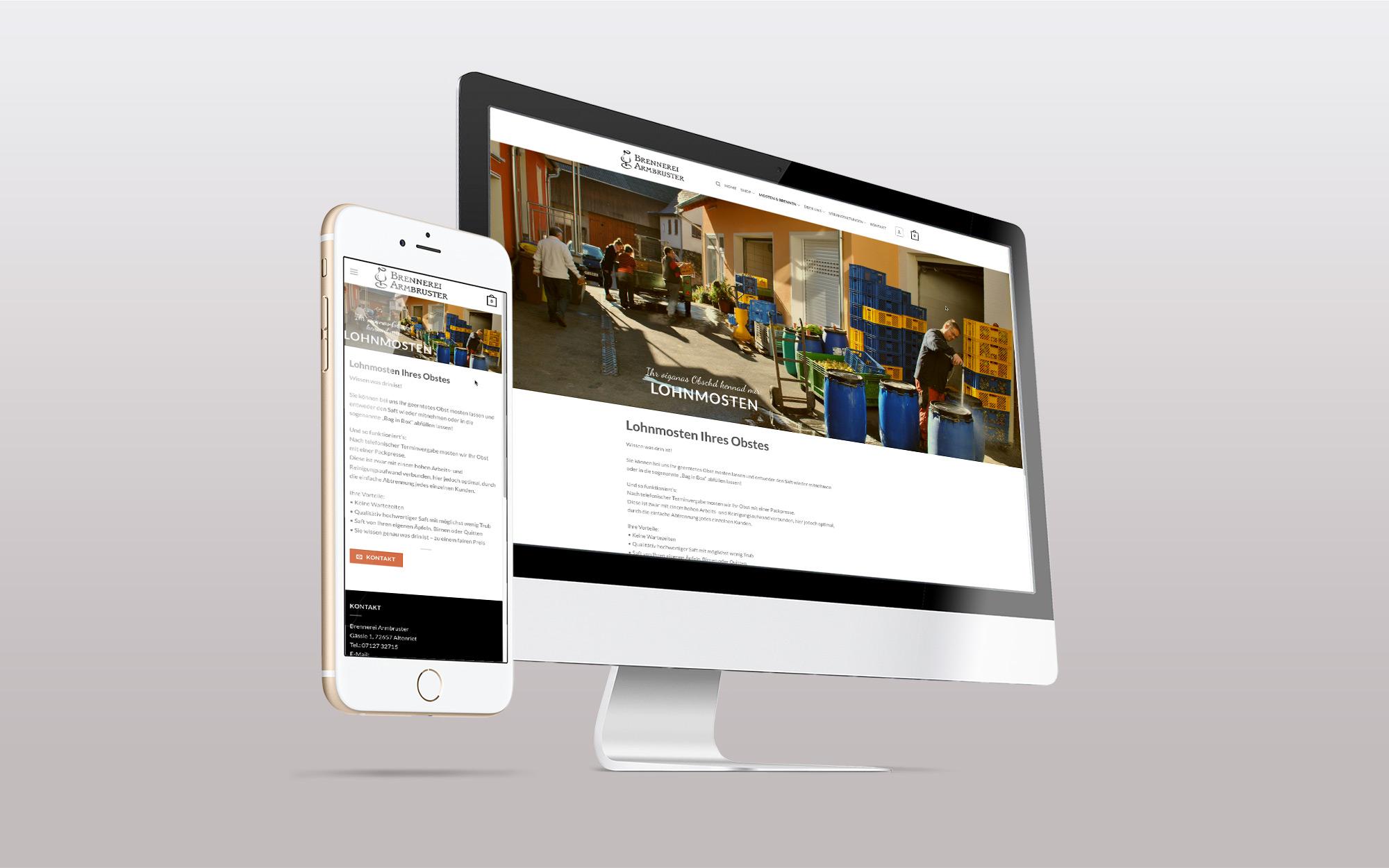 Webauftritt und Webshop Brennerei Armbruster