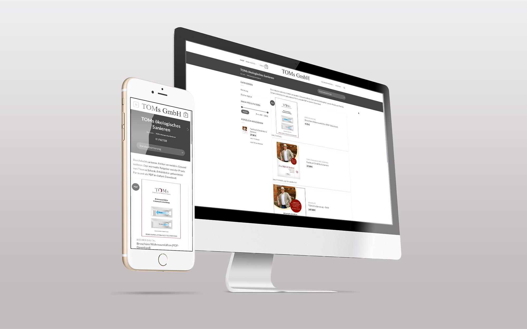 Portfolio Online-Shop TOMs GmbH